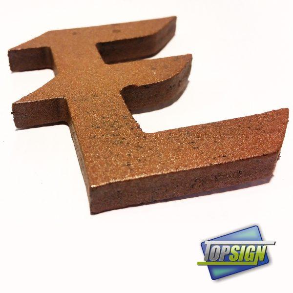 Letras de PVC imitación a forja marrón.